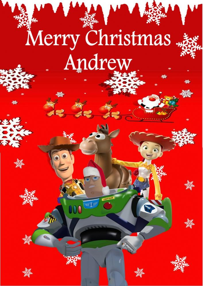 Toy Story Christmas : Personalised toy story christmas card